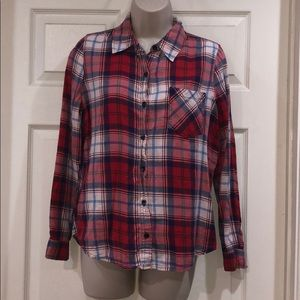 F21 red flannel button up